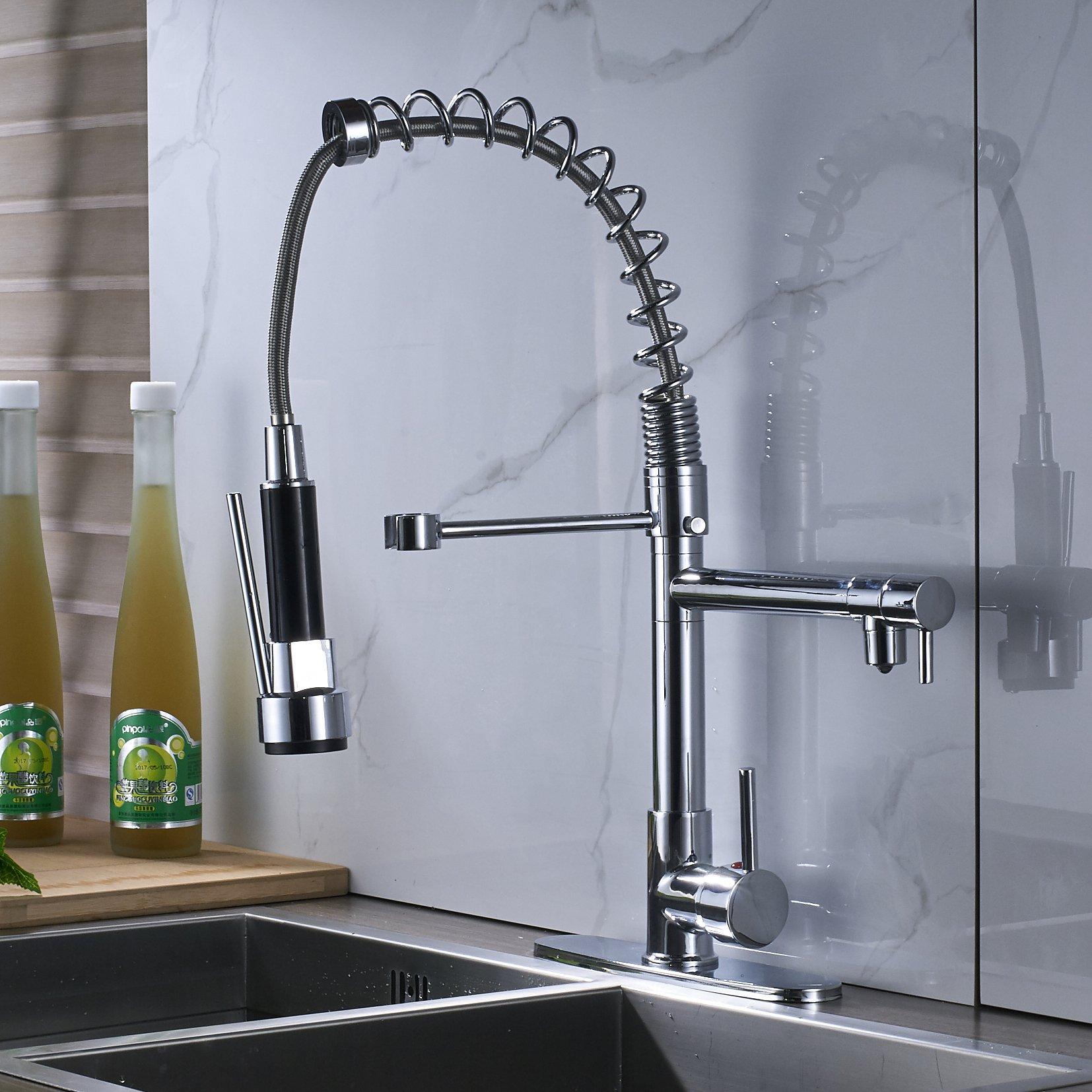Rozin Chrome Finish LED Light Sprayer Kitchen Sink Faucet Spring Swivel Spout Mixer Tap by Rozin (Image #8)