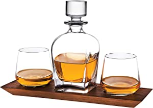 Godinger Whiskey Decanter and Whiskey Glasses Bar Set on Elegant Wooden Display Tray