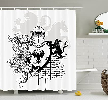 Mirryderr Medieval Decor Shower Curtain Set Heraldic Helmet Coat Of Knight With Ornate Pattern