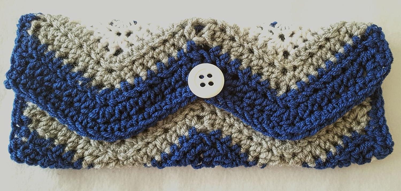 Amazon Clutch Bag Crochet Chevron Stitch Royal Blue White And