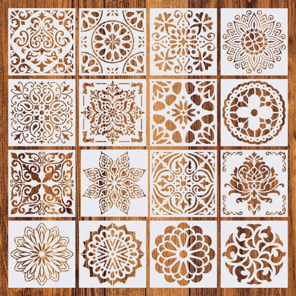 Rolin Roly 16 Pezzi Stencil per Pittura Mandala Durevole Stencil Riutilizzabile per Rifornimenti della del Pavimento Parete di Pietra Decorazione