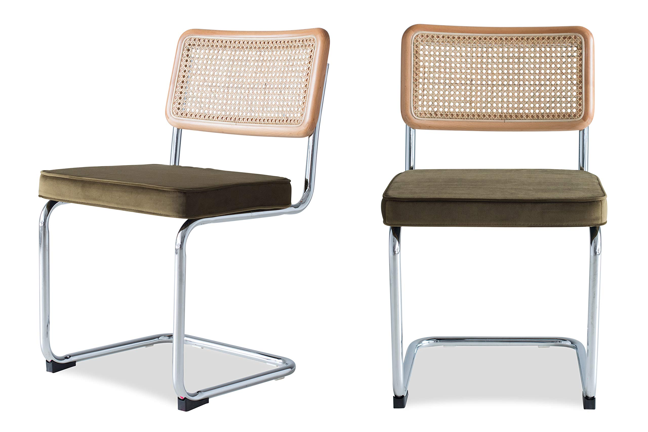 Edloe Finch Mid-Century Modern Dining Room Chairs Velvet Cushions - Rattan Back, Olive Green, by Edloe Finch