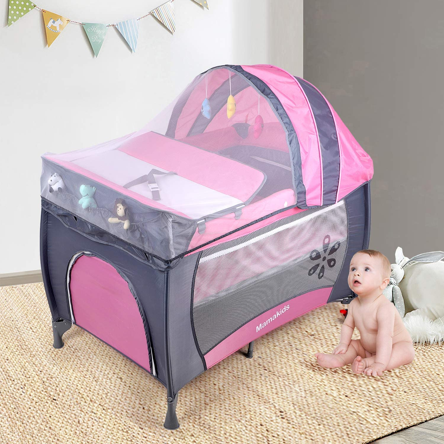 Wheels and Brake Portable Nursery Center for Boys and Girls with Carry Bag Foldable Baby Crib Portable Playard with Changing Table Infant Bassinet Bed Blue Travel Cot