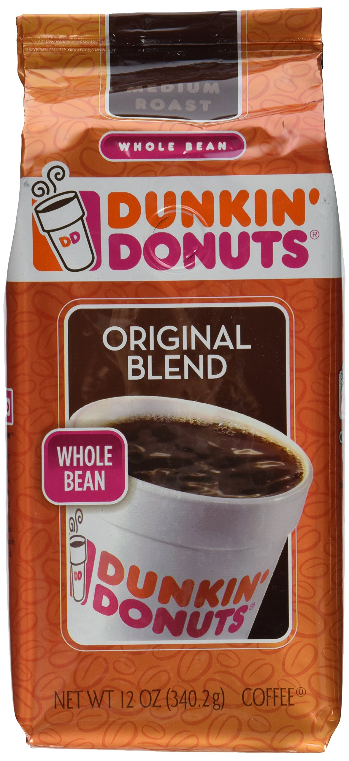 Dunkin' Donuts Original Blend Medium Roast Whole Bean Coffee 12 OZ (Pack of 12)