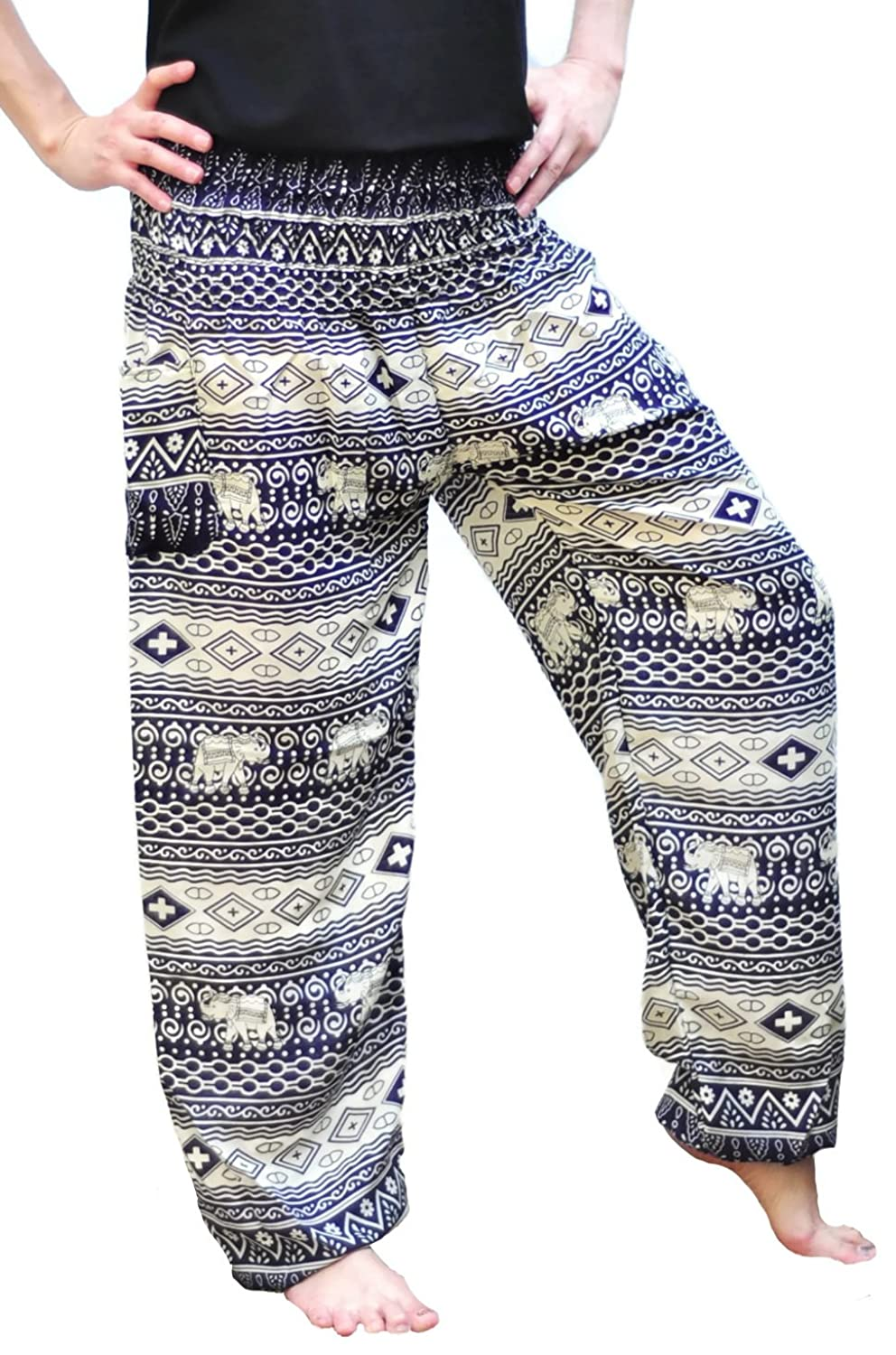 Siam Trendy Women's Thai Rayon Pants One Size Elephant Design