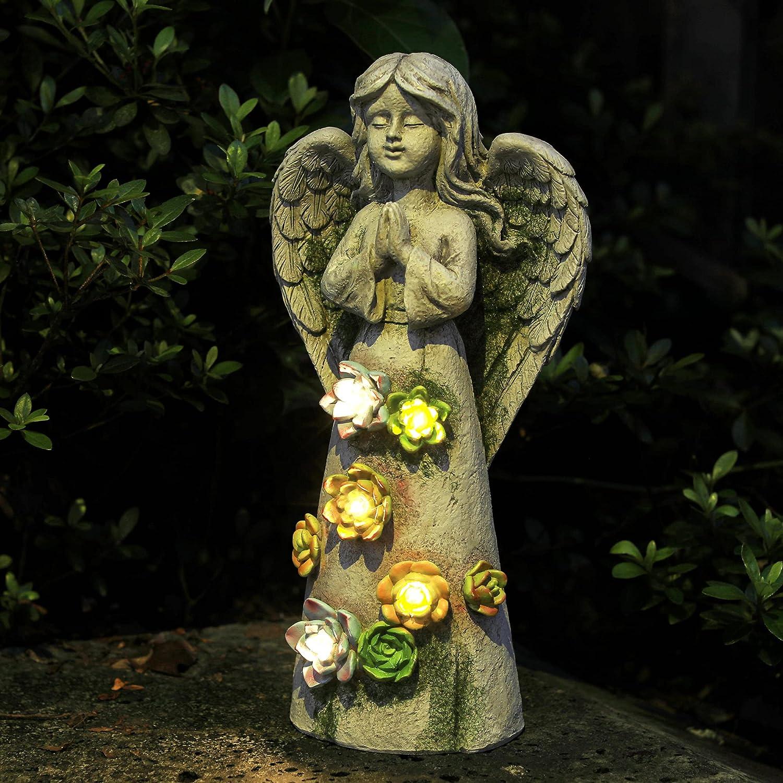 WEFINDER Garden Decor Angel Statue, Solar Powered Praying Fairy Angel Figurines with 5 LED Flower Lights, Garden Art Ornaments for Patio Lawn Yard, Sympathy Gift, Housewarming Gift