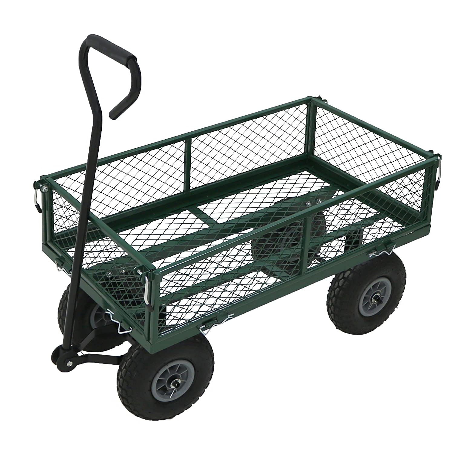 Oypla Heavy Duty Metal Gardening Trolley - Green Trailer Cart 3053OYP