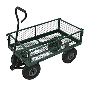 Superbe Oypla Heavy Duty Metal Gardening Trolley   Green Trailer Cart