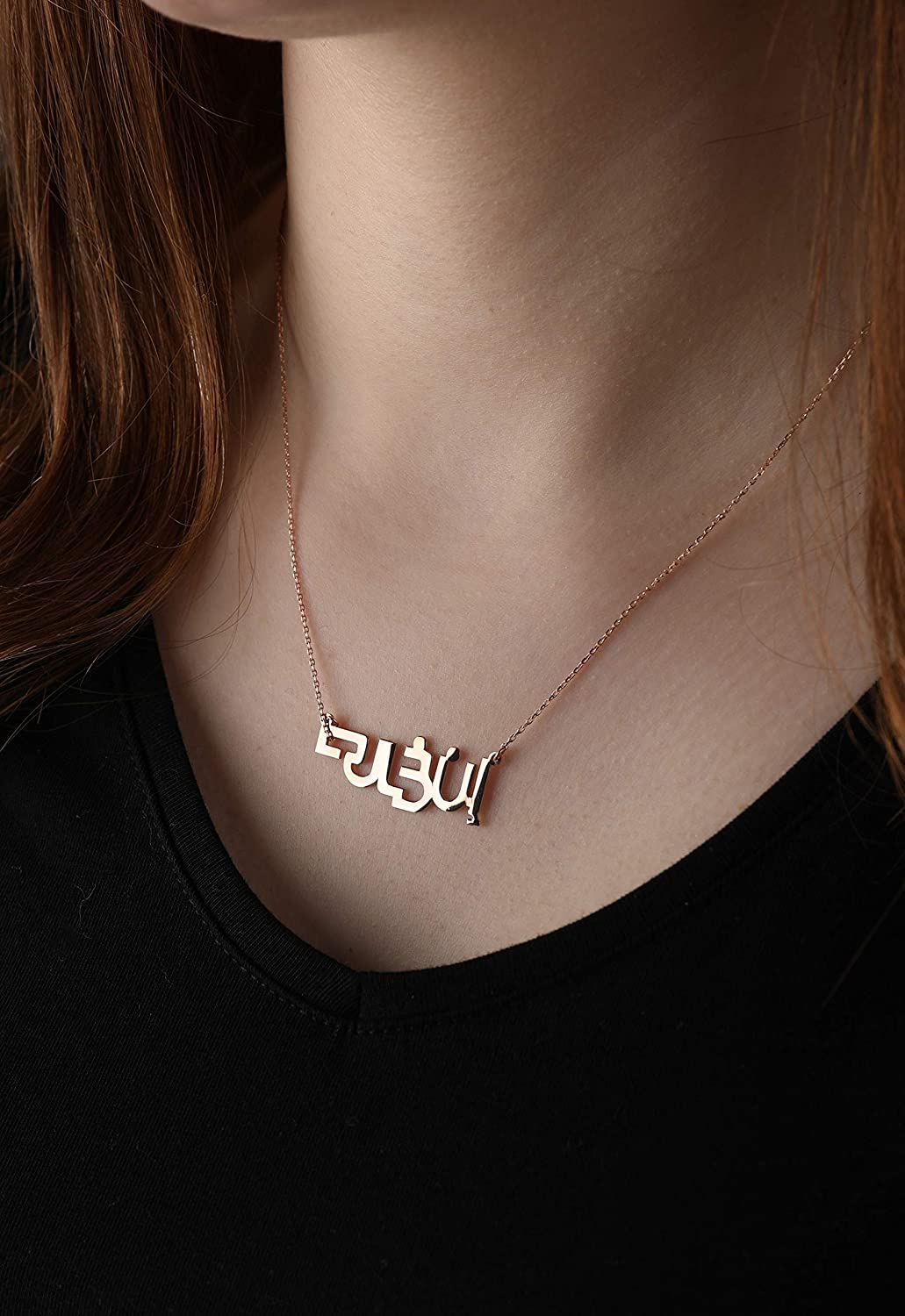 name customized gift valentine mothers day 18k gold necklace Calligraphy M N P R S V W Z pendant in latin and arabic letter personalized