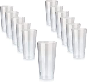New Star Foodservice 46502 Tumbler Beverage Cup, Stackable Cups, Break-Resistant Commercial SAN Plastic, 32 oz, Clear, Set of 12