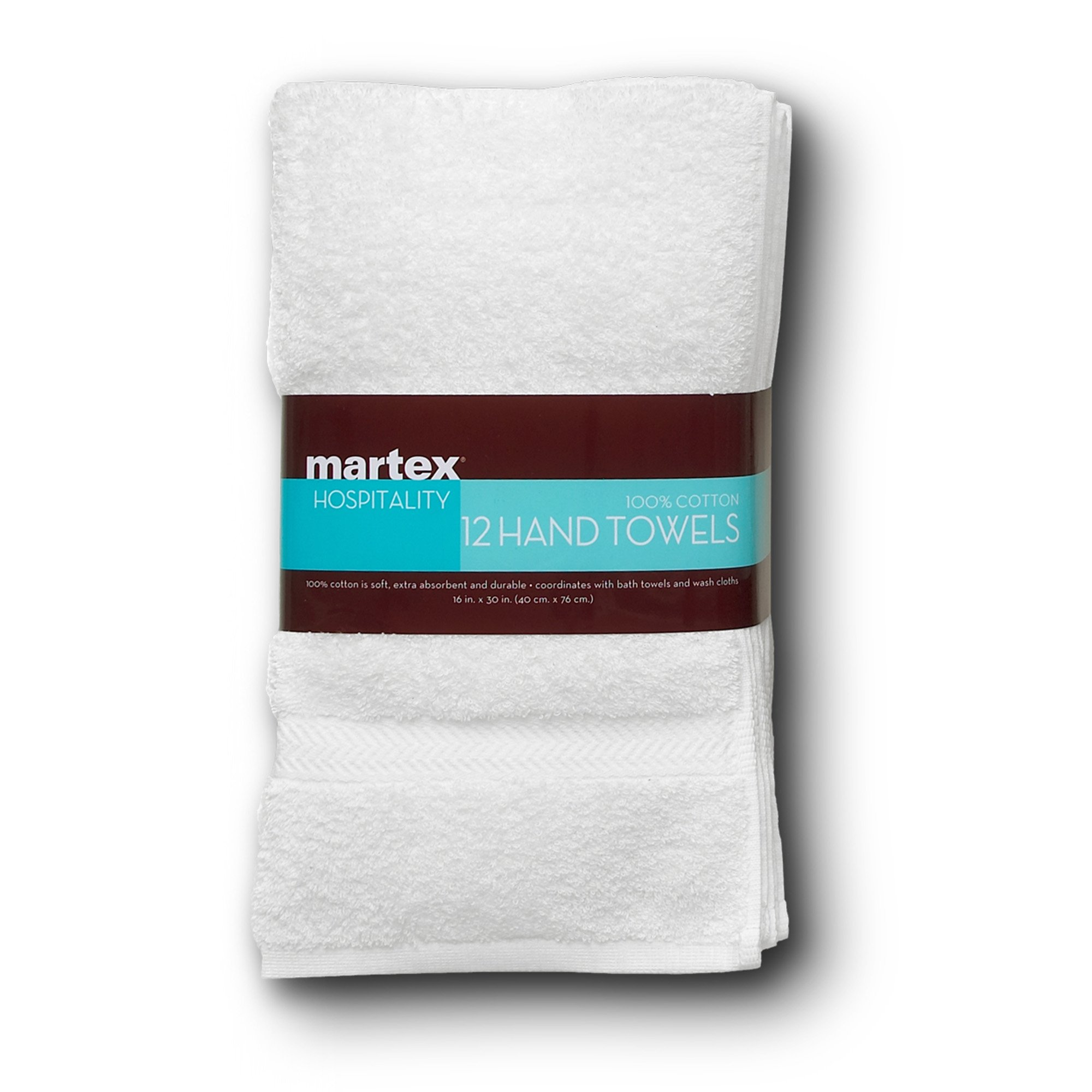 COMMERCIAL PREMIUM 12 PIECE HAND TOWEL SET BY MARTEX - 12 Hand Towels, Home, Business, Shower, Tub, Gym, Pool, Golf, Salon - Machine Washable, Absorbent, Professional Grade, Hotel Quality - WHITE