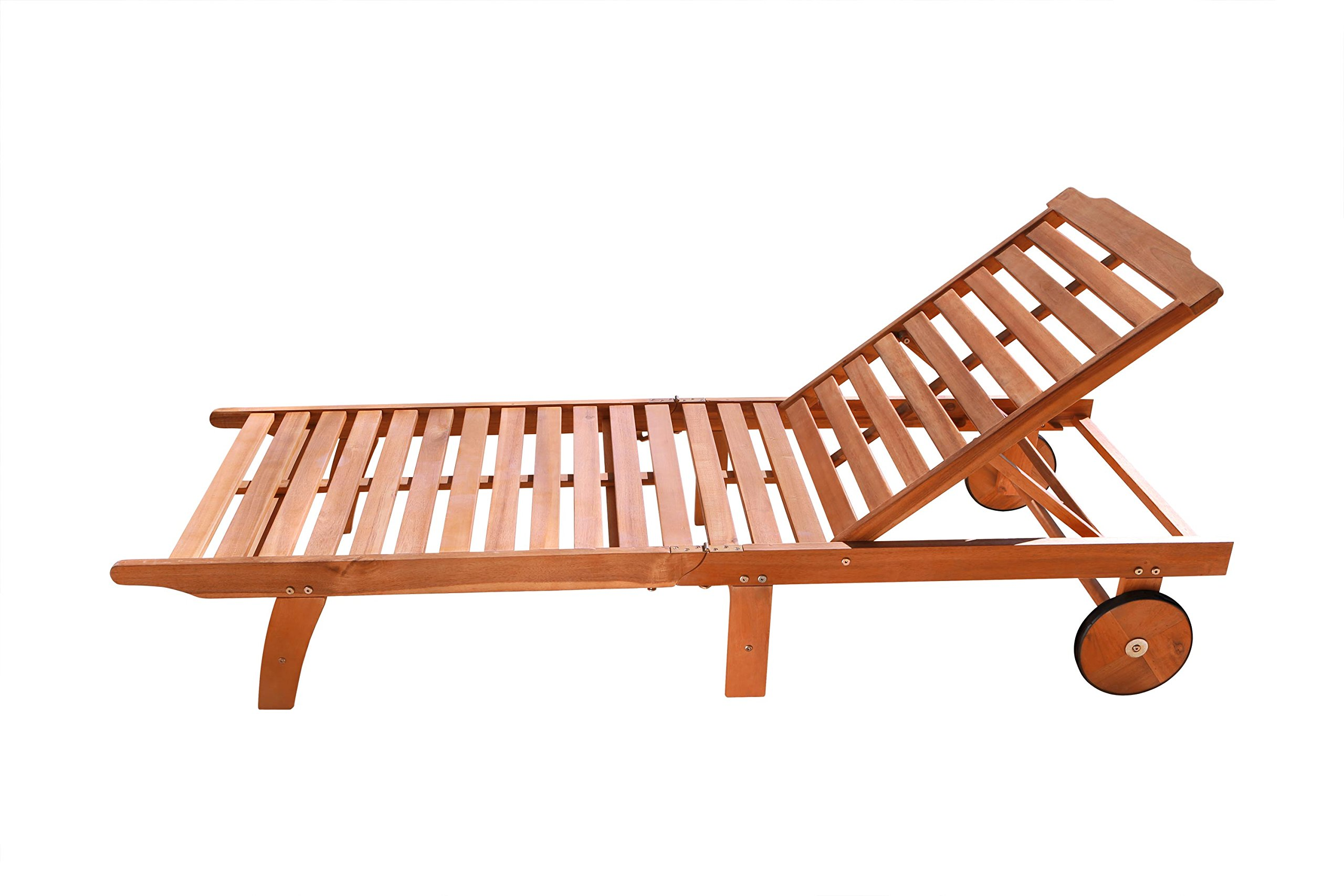 VIFAH V255 Outdoor Wood Single Chaise Lounge, Natural Wood Finish, 75 by 28 by 13-Inch by Vifah