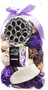 Qingbei Rina Purple Lavender Scent Summer Potpourri Dried Flowers,Perfume Sachet, Decorative Bag and Gift - Rattan Balls,Lotus Pods, Pine Cones,Dried Plants and Flowers Volume of 60 Oz