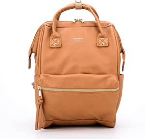Kah&Kee Leather Backpack Diaper Bag with Laptop Compartment Travel School for Women Man (Camel Beige, Small)