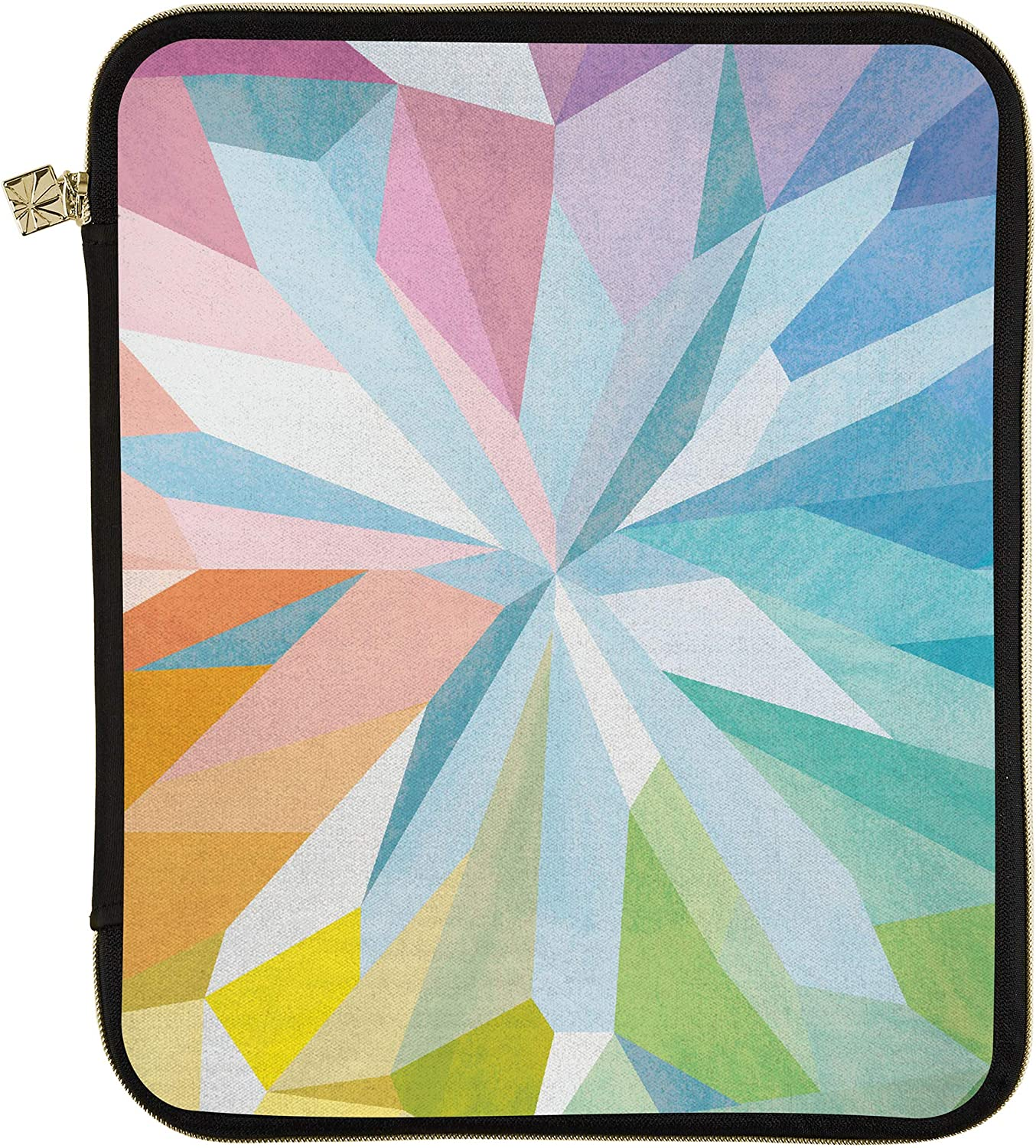 """Erin Condren Planner Folio - Kaleidoscope Colorful, Large (10"""" x 13""""), Organizer and Portfolio Case Holder for Planners, Documents and Laptops with Gold Zipper and Inner Pouch"""