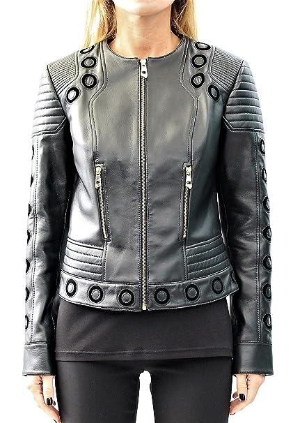 c1d733ec2cb9 Donna 42 Abbigliamento Nera Pelle tag Versace Amazon Giacca it TxzEXZwnq