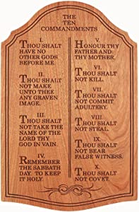 The Ten Commandments, Wall Décor, Plaque - Laser Engraved Cherry - 12 Inches Tall