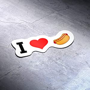 I Love Hotdog Food (2 Pack) Vinyl Decal Sticker - Car Truck Van SUV Window Wall Cup Laptop - Two 5 Inch Decal - MKS1412