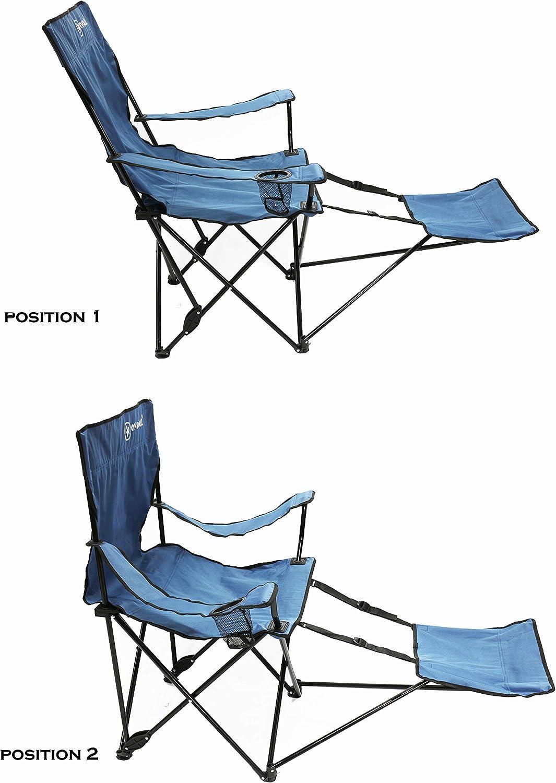 azul Silla de camping plegable con respaldo ajustable y reposapi/és Homecall