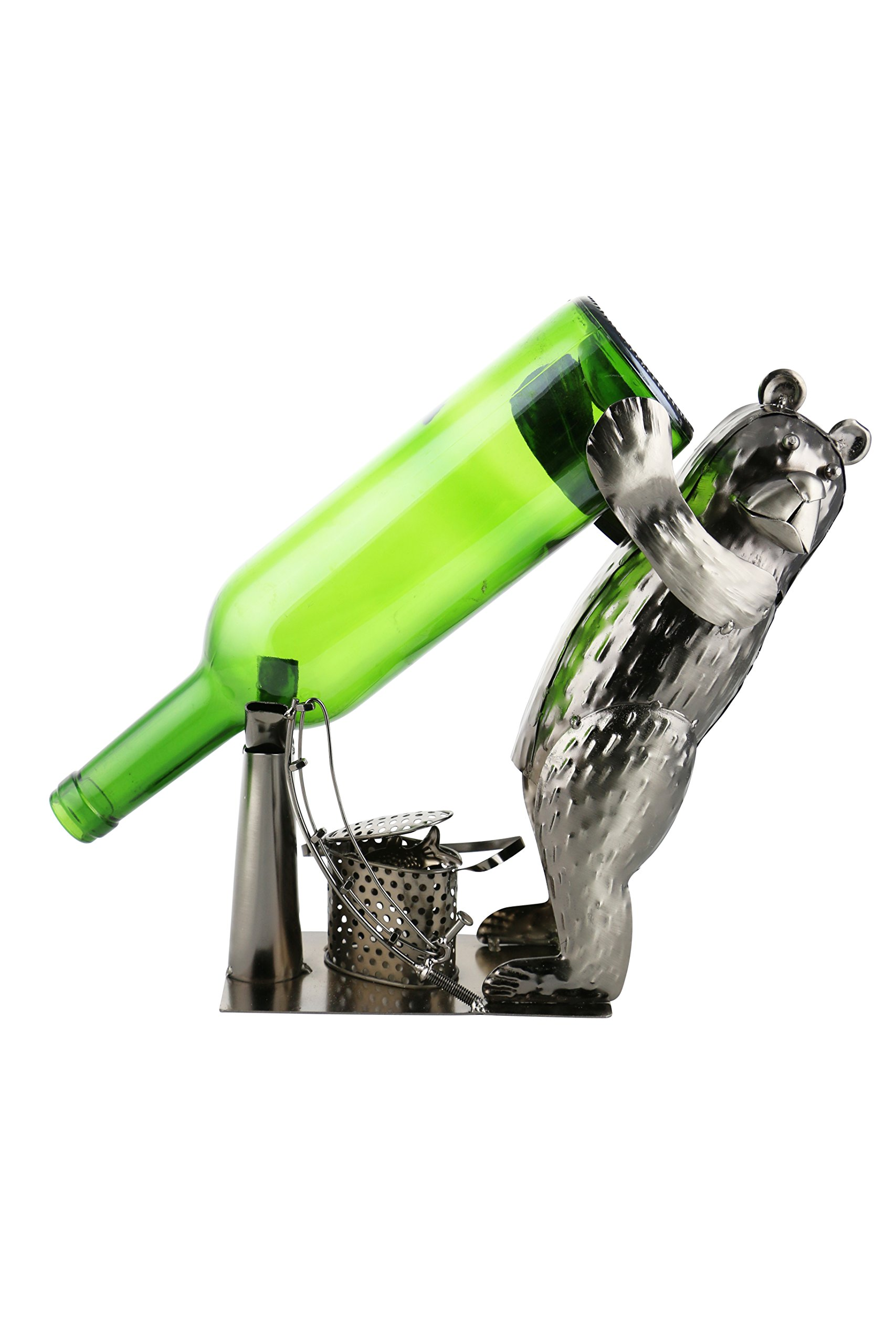 "Wine Bodies 10"" Fishing Bear Metal Wine Bottle Holder Quirky Kitchen Home Decor"