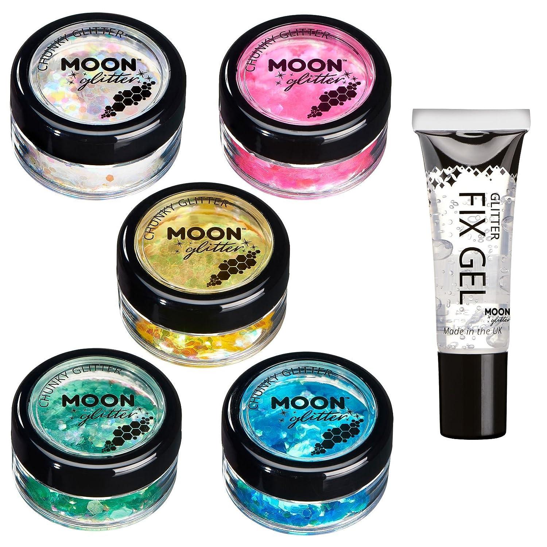 Brillo Iridiscente Grueso por Moon Glitter – 100% Brillo Cosmético para la Cara, Cuerpo, Uñas, Cabello y Labios - 3g - Set de 5 colores