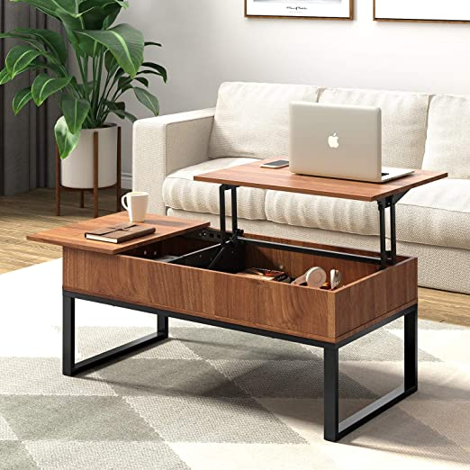Wlive Wood Coffee Table With Adjustable Lift Top Table Metal Frame Hidden Storage Compartment For Home Living Room