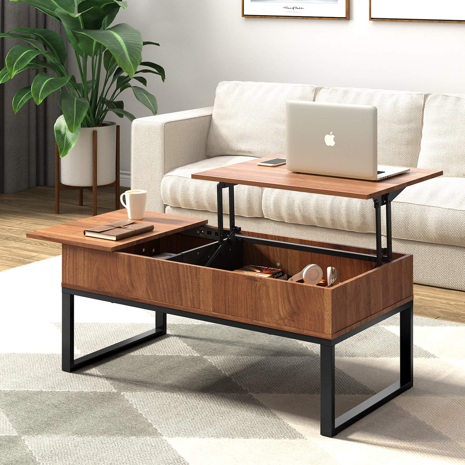 WLIVE Wood Coffee Table with Adjustable Lift Top Table, Metal Frame Hidden Storage Compartment for Home Living Room by WLIVE