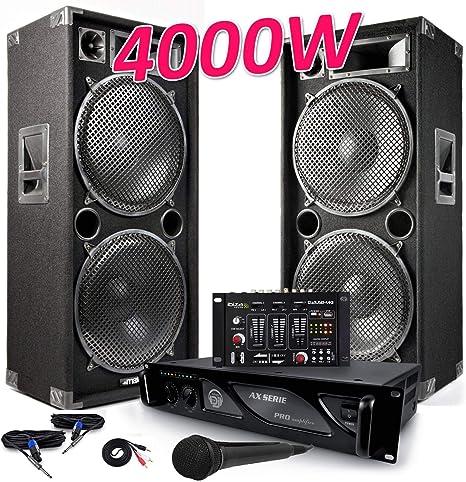 Pack megafonía completo 2 altavoces Pro 4000 W max215 + Micro + ...