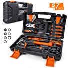 TACKLIFE 57-Piece Orange Home Tool Kit - Basic Household Hand Tool Kit for Home, Office, Apartment with Sturdy Tool Box Storage Case -HHK3A