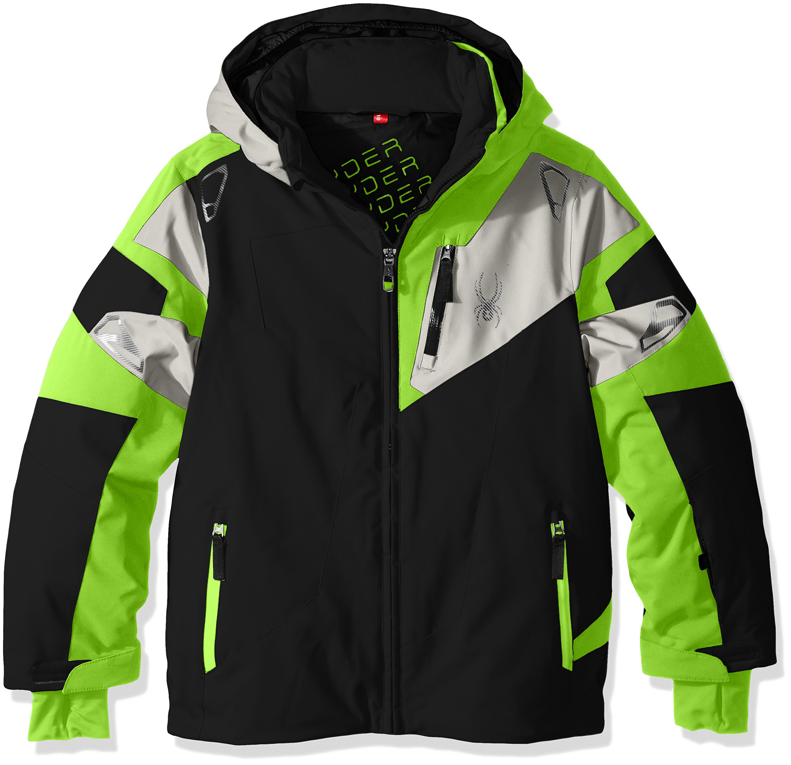 Spyder Boys Leader Jacket, Size 16, Black/Bryte Green/Cirrus by Spyder
