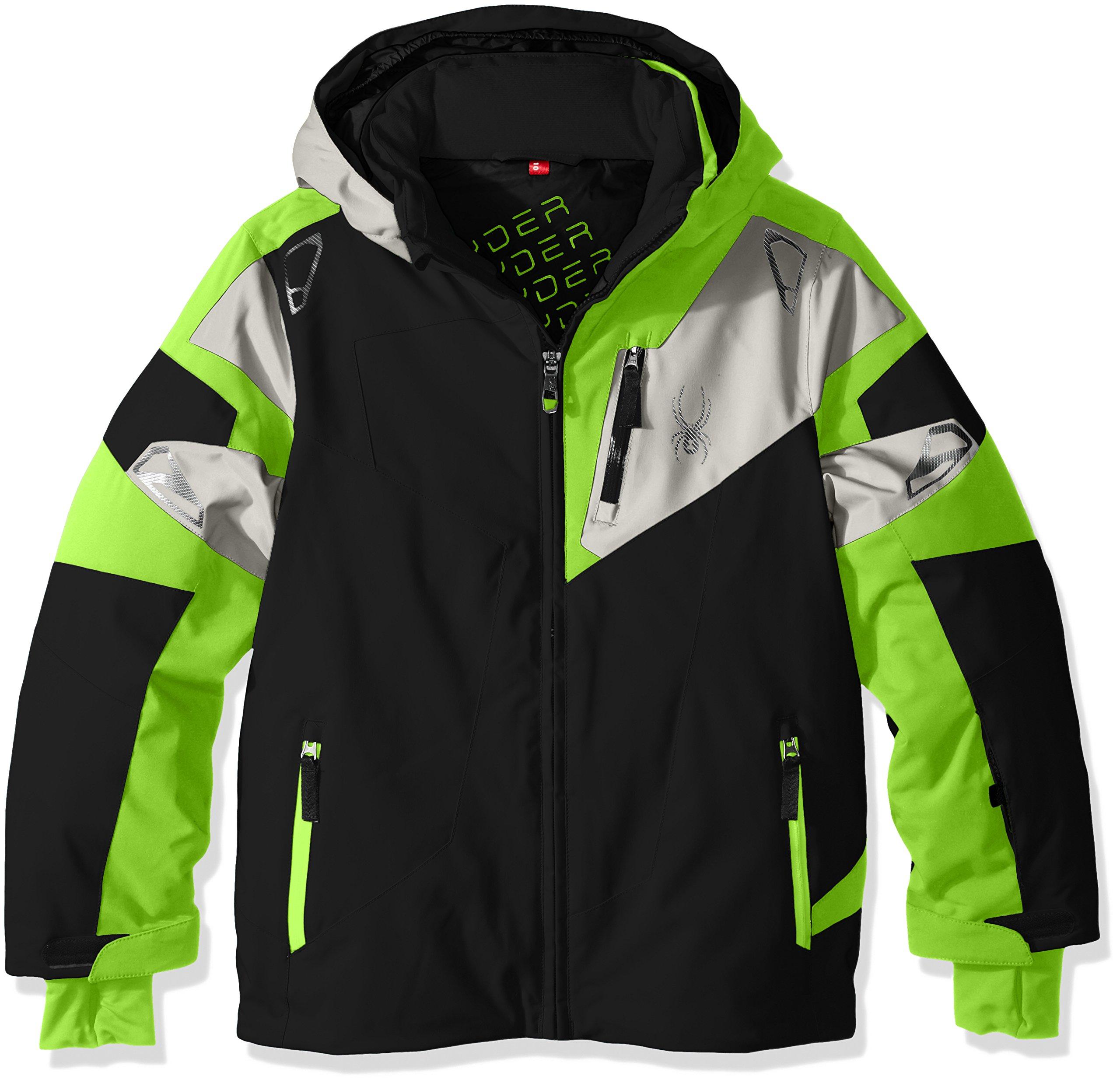 Spyder Boys Leader Jacket, Size 18, Black/Bryte Green/Cirrus by Spyder