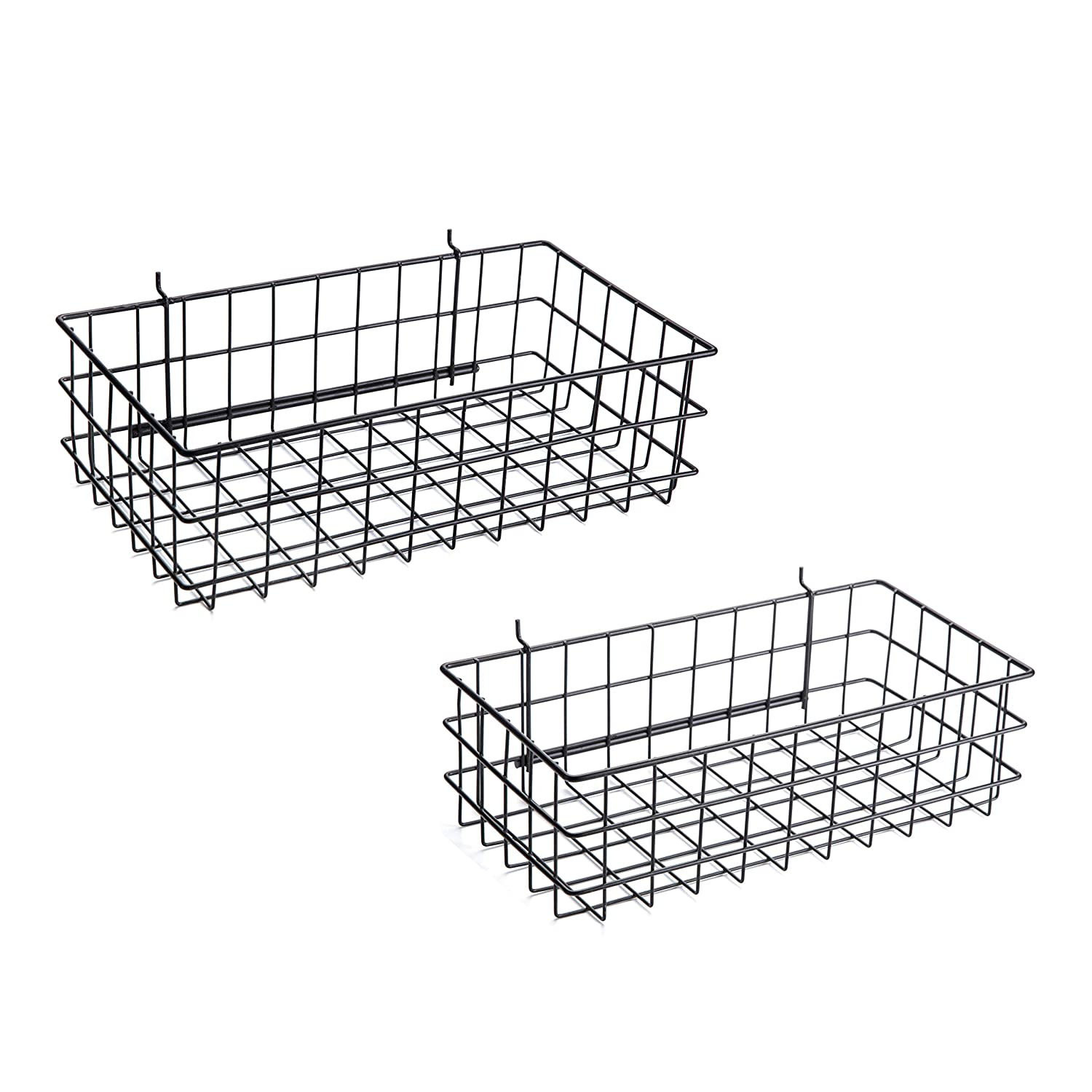 Pegboard Baskets Set of 4 Black - Hooks to 1/4' or 3/16' Hole Peg Board - Square Style Wire Shelf Baskets - Organize Tools, Workbench, Accessories, Garage Storage - Wall Organizer Attachments