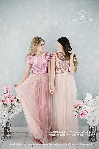 Amazon.com: Blush Sequin Bridesmaids, Tulle Dress for Bridesmaids in ...