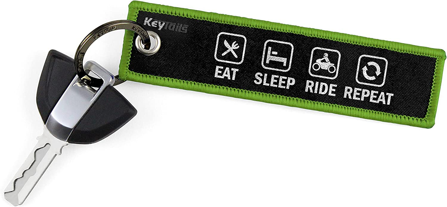 KEYTAILS Keychains, Premium Quality Key Tag for Motorcycle, Car, Scooter, ATV, UTV [Eat Sleep Ride Repeat]