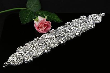 queendream Popular novia Rhinestone banda perla pedrería accesorios Sash – Cinturón para fiesta color blanco