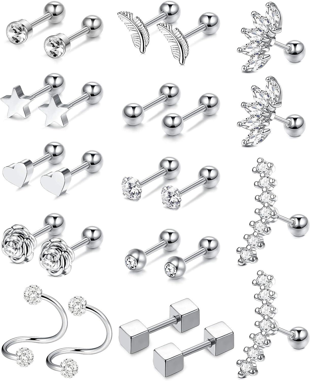 Besteel 12 Pairs Stainless Steel Ball Cartilage Stud Earrings Barbell Tragus Helix Earrings for Women Men Round Silver CZ Ear Piercing Set