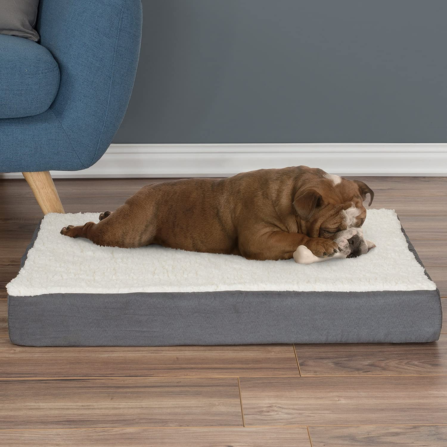 Gray Rectangular Soft Warming Dog Bed with Removable Pad Polyester Memory Foam Bed for Resting Calming Sleeping for Small Medium Large Dogs