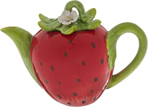 Cosmos Gifts Strawberry Ceramic Teapot, 5-1/4-Inch