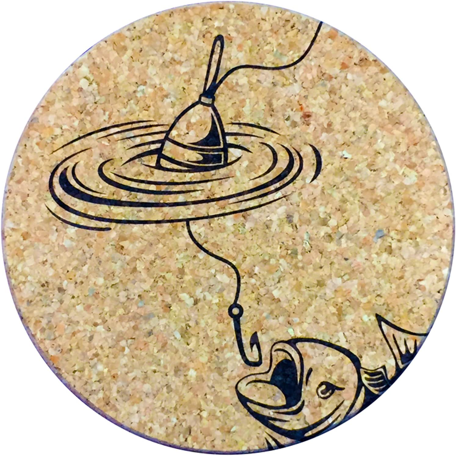XL Coasters Gone Fishing (6 Inch, Set of 2) – Oversized cork absorbent drink coasters