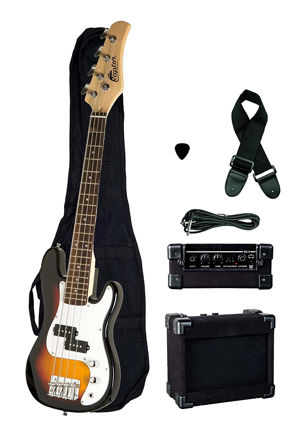 Raptor EB38CO-TS 3/4 Size Kids Junior 4 String Electric P Bass Package, Tobacco-Burst with Gig Bag, Strap, Cable, Pick, 5 W amp, 38