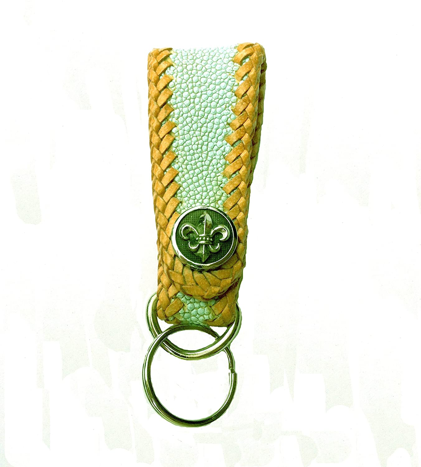 Lime Green Dyed Sting Ray Leather Art Deco Key Fob with Fleur de Lis Snap