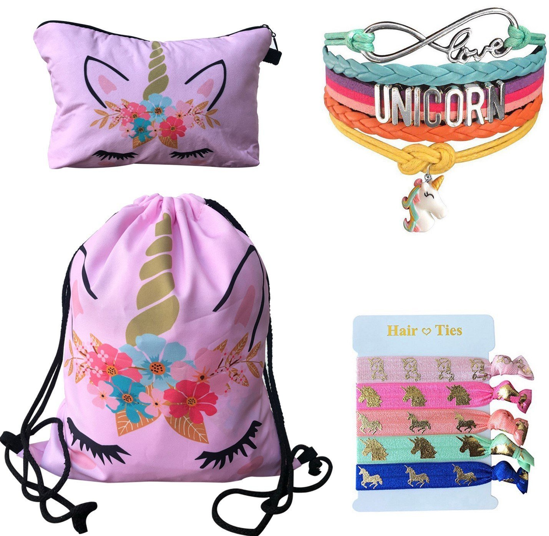 Unicorn Gifts 4 Pack - Unicorn Drawstring Backpack/Makeup Bag/Bracelet/Hair Tie (Pink Flower Unicorn)