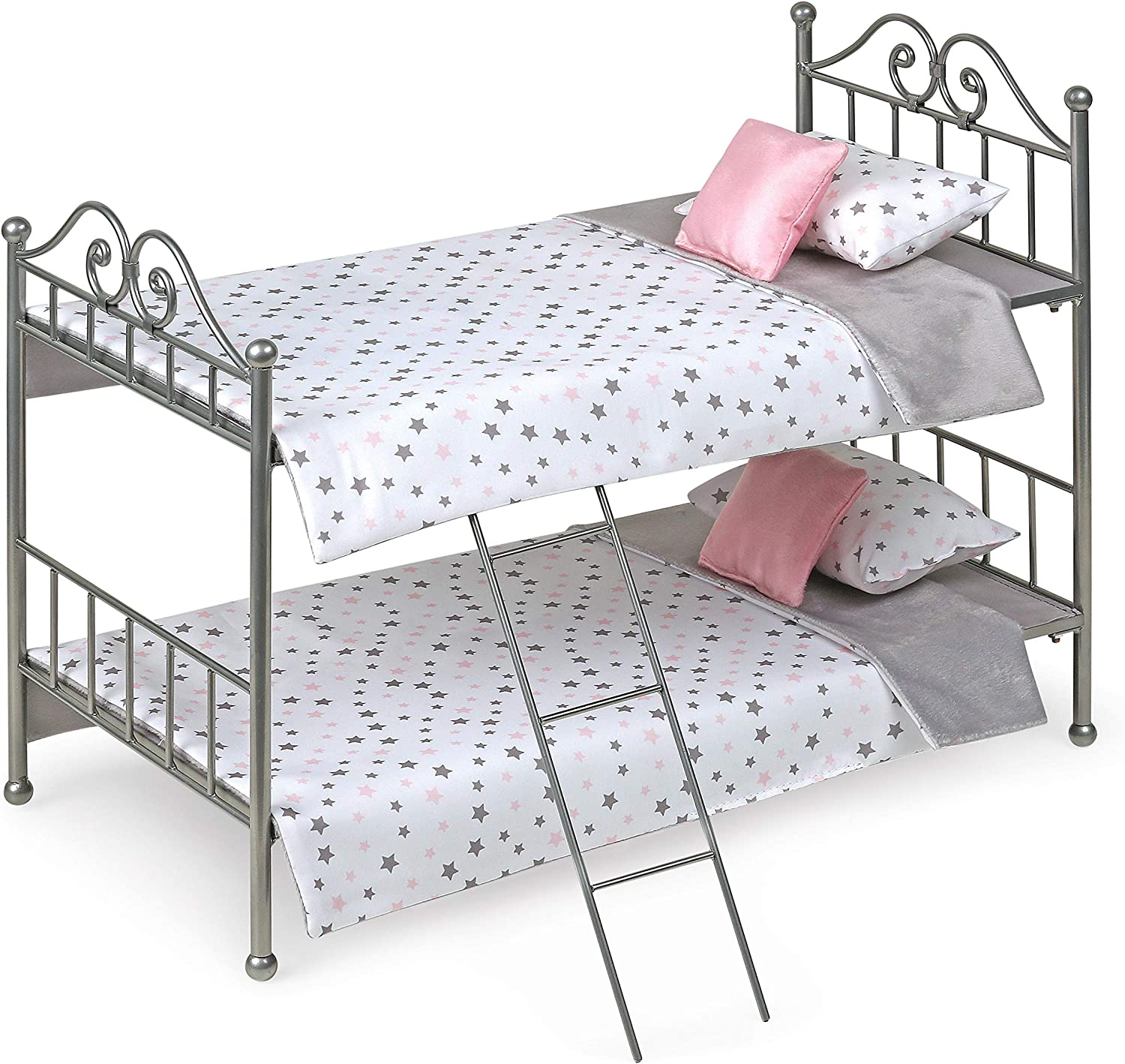 Scrollwork Metal Doll Bunk Bed with Ladder and Bedding - fits American Girl Dolls