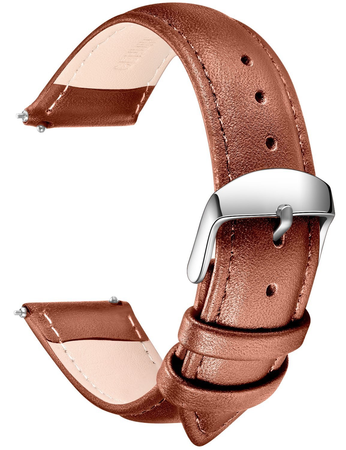 SONGDU Quick Release Leather Watch Band, Full Grain Genuine Leather Replacement Watch Strap with Stainless Metal Buckle Clasp 16mm, 18mm, 20mm, 22mm, 24mm (18mm, Light Brown)