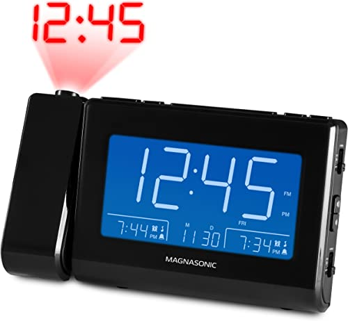 Magnasonic Alarm Clock Radio with USB Charging for Smartphones Tablets, Time Projection, Auto Dimming, Dual Gradual Wake Alarm, Battery Backup, Auto Time Set, Large 4.8 LED Display, AM FM CR64