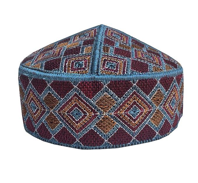 add9c188000 Men s Kufi Afgani Cap Hand Embroidered Islamic Topi for Men Prayer Hat Skull  Cap (TK11) at Amazon Men s Clothing store