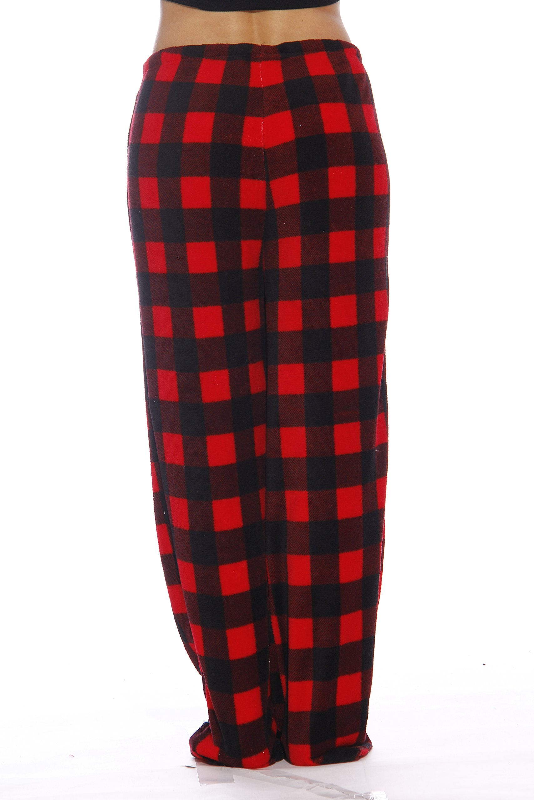 Just Love Women's Plush Pajama Pants, Small, Buffalo Plaid Red by Just Love (Image #3)