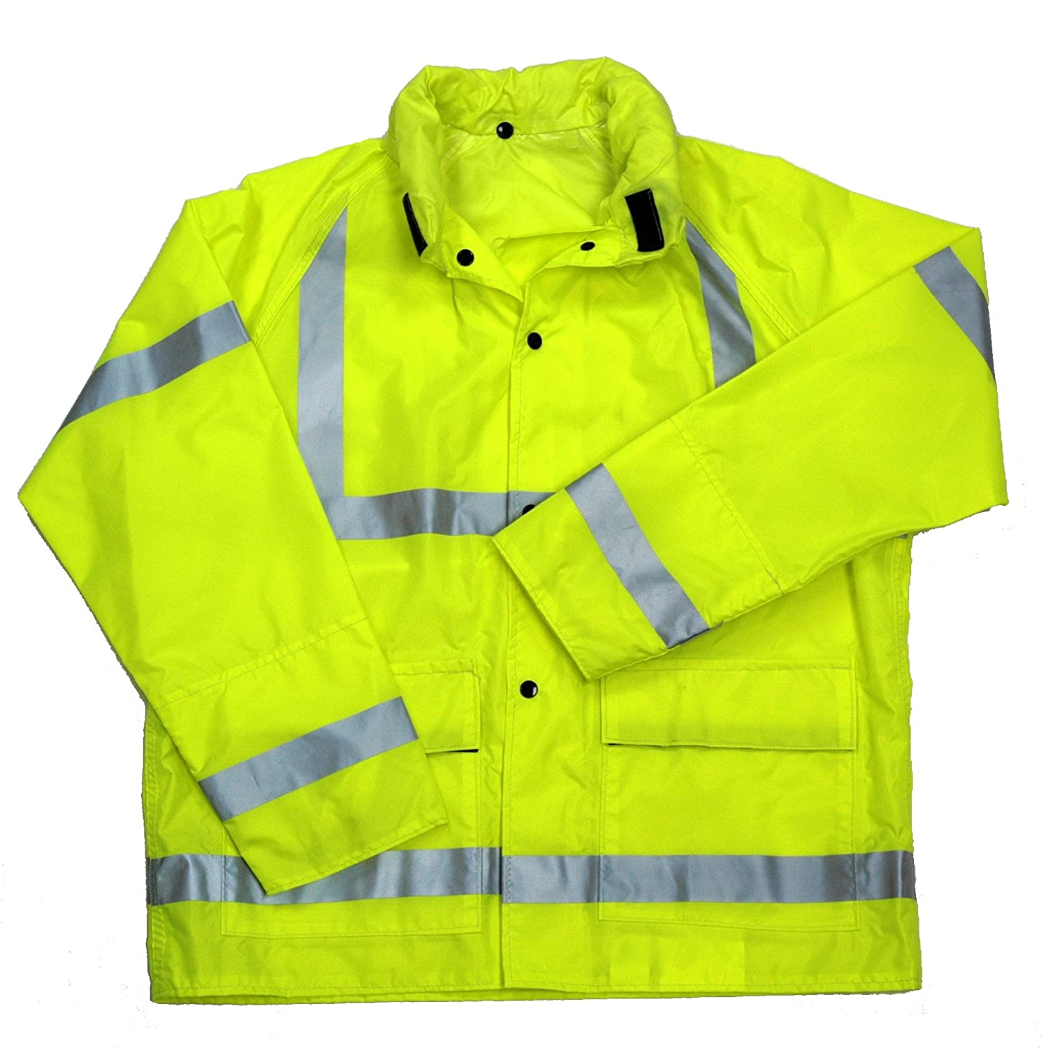 Neese Industries Style #NV7002AJ Telcom Polyurethane Coated Polyester Class 3 Jacket with Attached Tuck-Away Hood Hi-Viz Lime 4XL