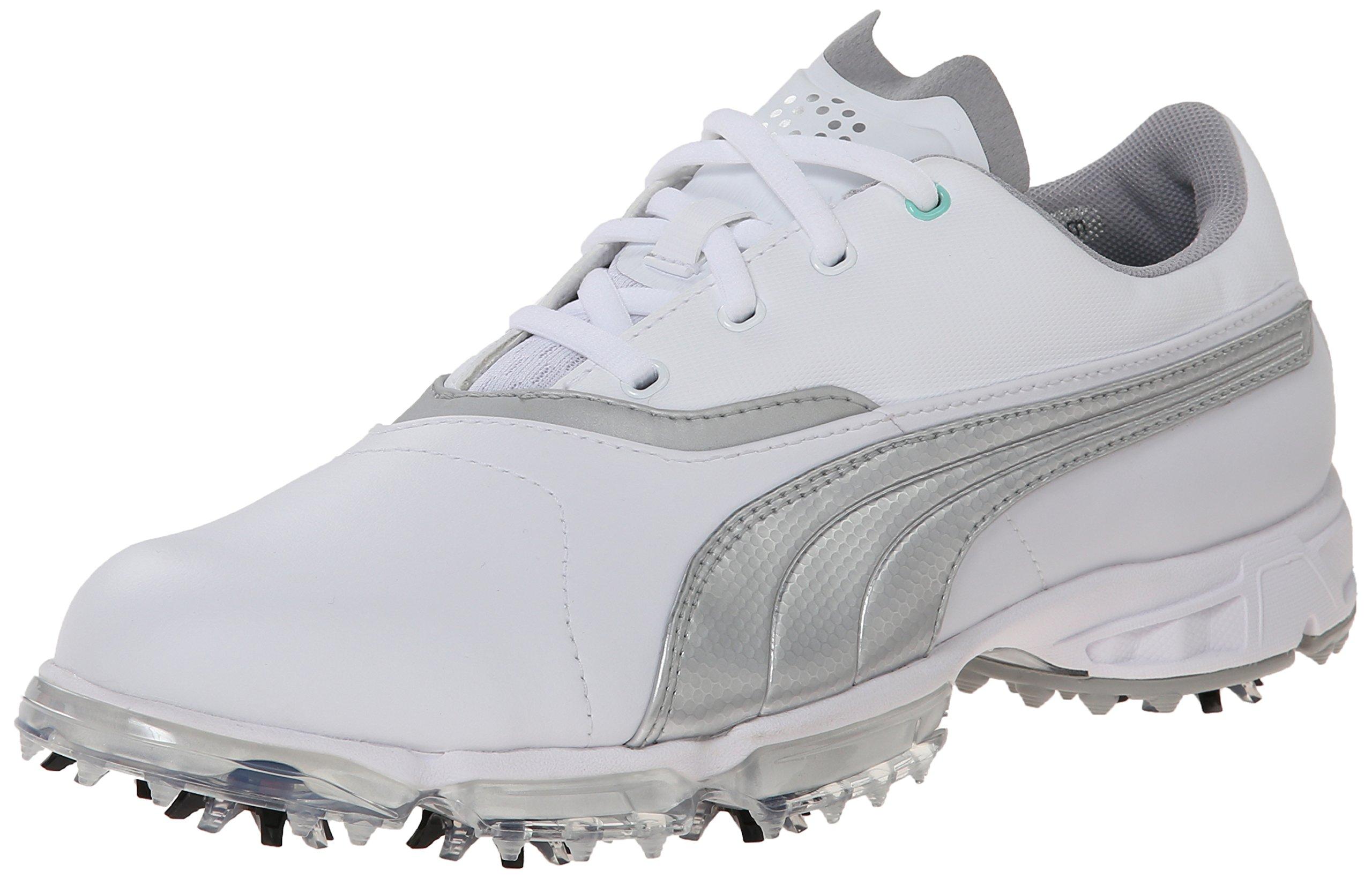 PUMA Women's Biopro Golf Shoe Spiked, White/Silver Metallic, 7.5 M US