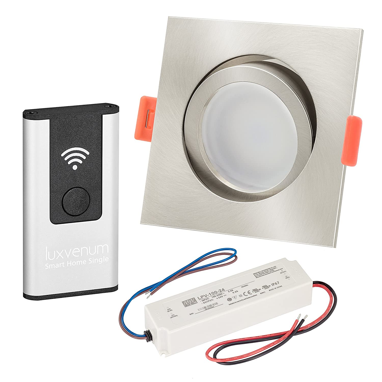 LUXVENUM   5er-Set Alexa Echo Smart Home kompatible LED-Einbaustrahler 230V extra flach 25mm DIMMBAR 6W statt 70W Eisen-gebürstetes Aluminium & Milchglas eckig tageslichtweiß 4000K